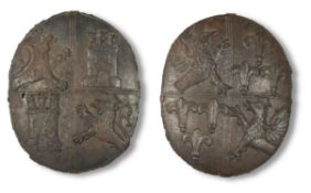 TWO CAST IRON SHIELDS IN MEDIEVAL STYLE, LATE 19TH CENTURY
