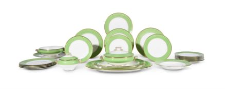 [FRANCIS BACON RELATED] THE RESIDUE OF A COPELAND APPLE GREEN AND GILT DINNER SERVICE