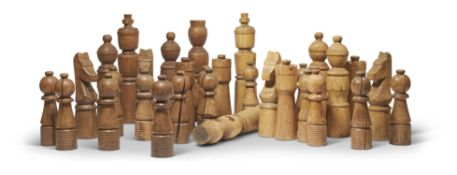 AN OVER-SIZED CHESS SET LATE 20TH CENTURY