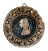 A PAINTED PLASTER RELIEF OF MARGUERITE DE VALOIS-ANGOULEME AS A GIRL, AFTER A 16TH CENTURY ORIGINAL