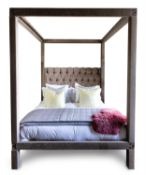 A CRUSHED VELVET CLAD FOUR-POSTER BED, MODERN