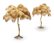A PAIR OF LARGE GILT RESIN AND OSTRICH FEATHER TABLE LAMPS, BY A MODERN GRAND TOUR