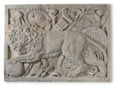 A RELIEF-CAST PLASTER PANEL OF THE DEVONSHIRE LION, MODERN