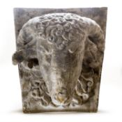 A PAIR OF PLASTER CAST OF RAM'S HEAD KEY STONES, MODERN