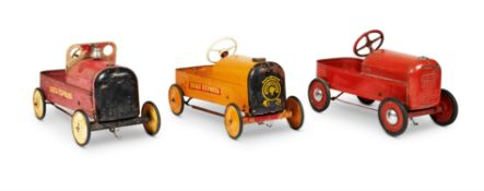 THREE PEDAL CARS AND A CHILDREN'S SLEDGE, MID 20TH CENTURY