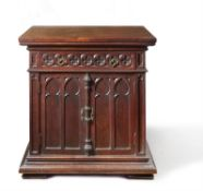 A LATE VICTORIAN GOTHIC REVIVAL MAHOGANY SIDE CABINET