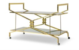 A GILT BRONZE AND SMOKED GLASS DRINKS TROLLEY, 1950S