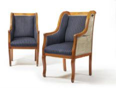 A PAIR OF BIRCH INLAID AND UPHOLSTERED ARMCHAIRS