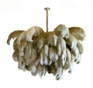 A RESIN AND OSTRICH FEATHER CEILING LIGHT, BY A MODERN GRAND TOUR