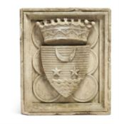 A CONTINENTAL SCULPTED LIMESTONE ARMORIAL RELIEF, 19TH CENTURY