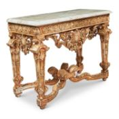 A GILTWOOD AND MARBLE TOPPED SIDE TABLE, LATE 19TH CENTURY