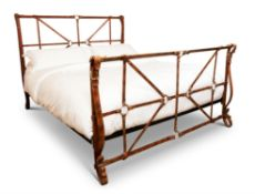 AN IRON STRAP BED, 20TH CENTURY