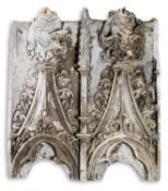 A PLASTER CAST OF TWO GOTHIC ARCHITECTURAL ARCHES