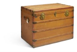 A FRENCH CANVAS AND WOODEN BOUND TRUNK, M. ANTHEAUME