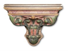 A LARGE VICTORIAN POLYCHROME PAINTED PLASTER BRACKET, CIRCA 1870