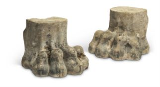 A PAIR OF REGENCY STONE LION PAWS, EARLY 19TH CENTURY