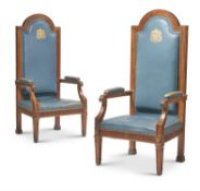 A PAIR OF WALNUT AND BLUE LEATHER UPHOLSTERED CIVIC ARMCHAIRS