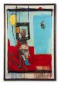 λ CHRIS MOON (BRITISH 20TH CENTURY), SELF PORTRAIT WITH BALLOON