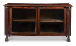 A REGENCY MAHOGANY AND ROSEWOOD CROSSBANDED SIDE CABINET, CIRCA 1820