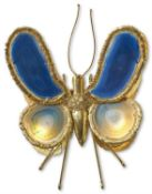 A GILT METAL AND COLOURED INSECT WALL LIGHT, 1970S