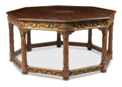A GOTHIC REVIVAL OAK CENTRE TABLE, LATE 19TH CENTURY