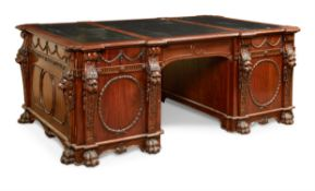 A CARVED MAHOGANY TWIN PEDESTAL PARTNERS DESK, IN GEORGE III STYLE