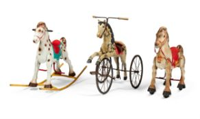 TWO PRESSED STEEL RIDE-ON TOY HORSES, BY MOBO