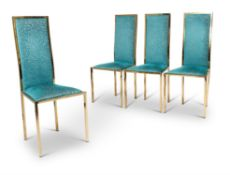 A SET OF FOUR GILT METAL DINING CHAIRS, POSSIBLY ITALIAN