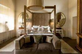 A SUEDE STYLE FABRIC CLAD FOUR POSTER BED, MODERN