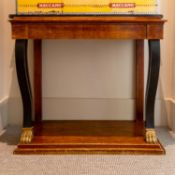 AN EBONISED AND MAHOGANY SIDE TABLE IN REGENCY STYLE, 19TH CENTURY