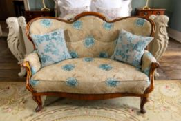 A FRENCH WALNUT BUTTON BACK UPHOLSTERED TWO SEAT SOFA, MID 19TH CENTURY AND LATER