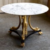 A MARBLE TOPPED CENTRE TABLE, FIRST QUARTER 19TH CENTURY AND LATER