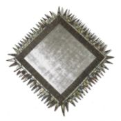 A DISTRESSED FINISH SQUARE WALL MIRROR, ATTRIBUTED TO LINE VAUTRIN