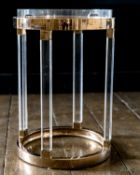 A SET OF FOUR GILT METAL AND PERSPEX TRAY TOP TABLES, LAST QUARTER 20TH CENTURY
