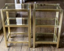 A PAIR OF GILT METAL THREE TIER OCCASIONAL TABLES OR ETAGERES, LAST QUARTER 20TH CENTURY