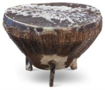 AN AFRICAN ZEBRA SKIN DRUM TABLES, 20TH CENTURY