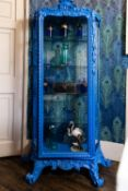 A BLUE PAINTED DISPLAY CABINET IN FRENCH 18TH CENTURY TASTE, 20TH CENTURY