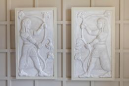 A PAIR OF PAINTED PLASTER PANELS OF COURT OFFICIALS, 20TH CENTURY