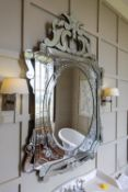 A LARGE ETCHED MIRROR IN VENETIAN STYLE, MODERN