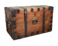 AN OAK AND IRON BOUND SILVER CHEST, 19TH CENTURY