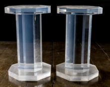 A PAIR OF PERSPEX COLUMNAR PLINTHS, LATE 20TH CENTURY