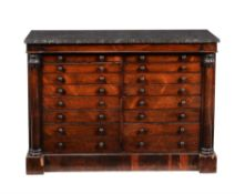 Y An early Victorian rosewood low collector's cabinet