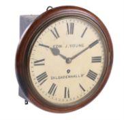 A Victorian mahogany fusee dial wall clock