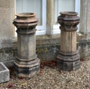 A pair of late Victorian clay chimney pots