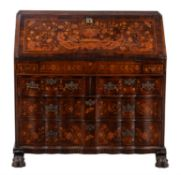 A Dutch mahogany and marquetry inlaid bureau