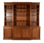 A walnut library bookcase