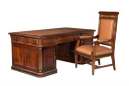 A Russian mahogany and gilt metal mounted twin pedestal desk in 19th century style