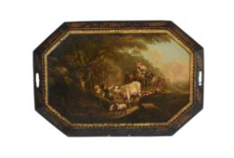 A Regency painted tinware tray