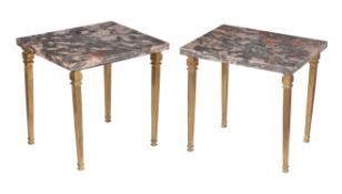 A pair of mottled pink and black marble mounted gilt metal side tables or stands