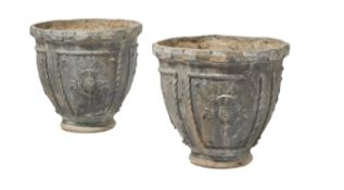 A pair of lead garden urns